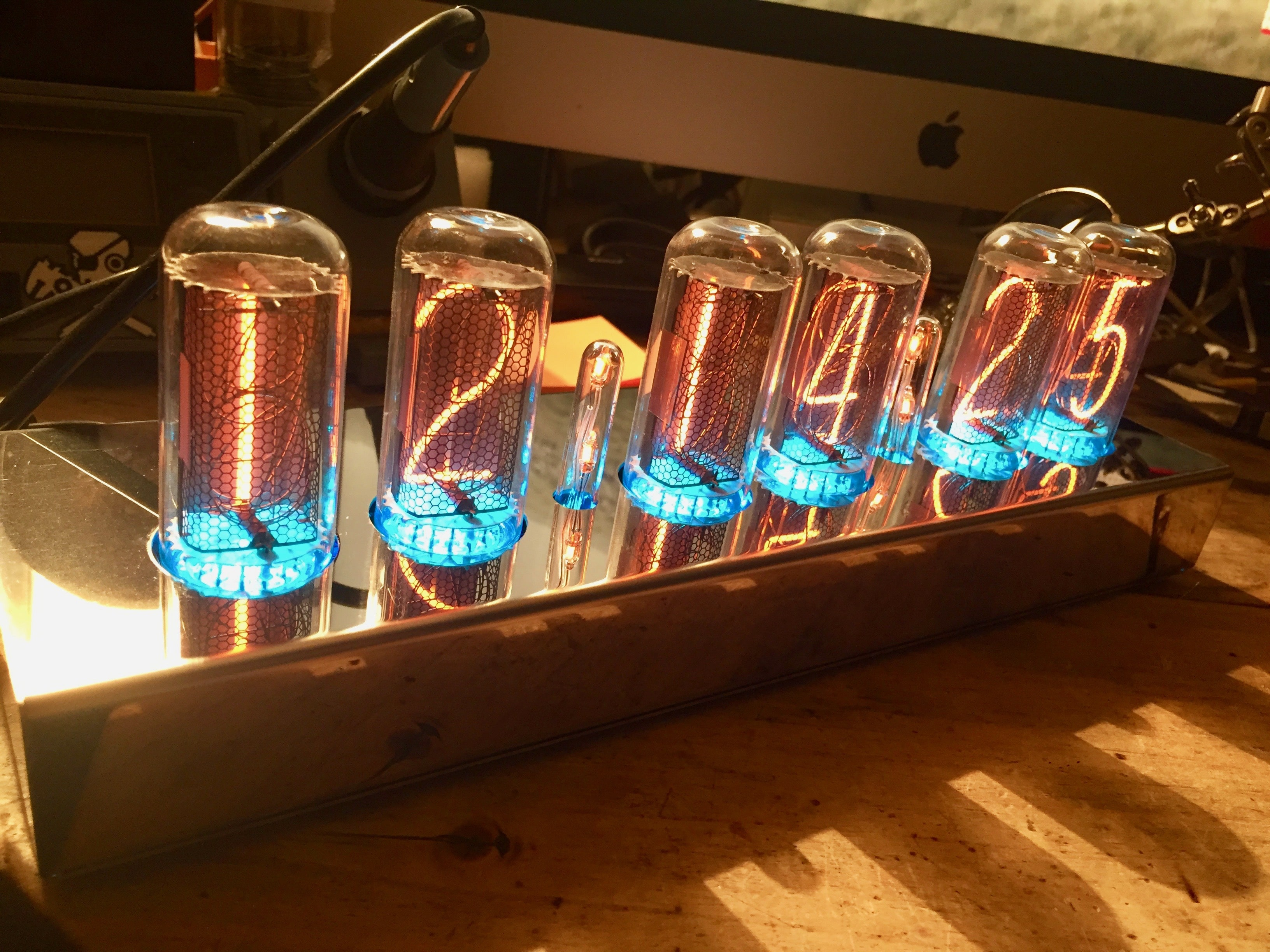 very large Nixie tube clock