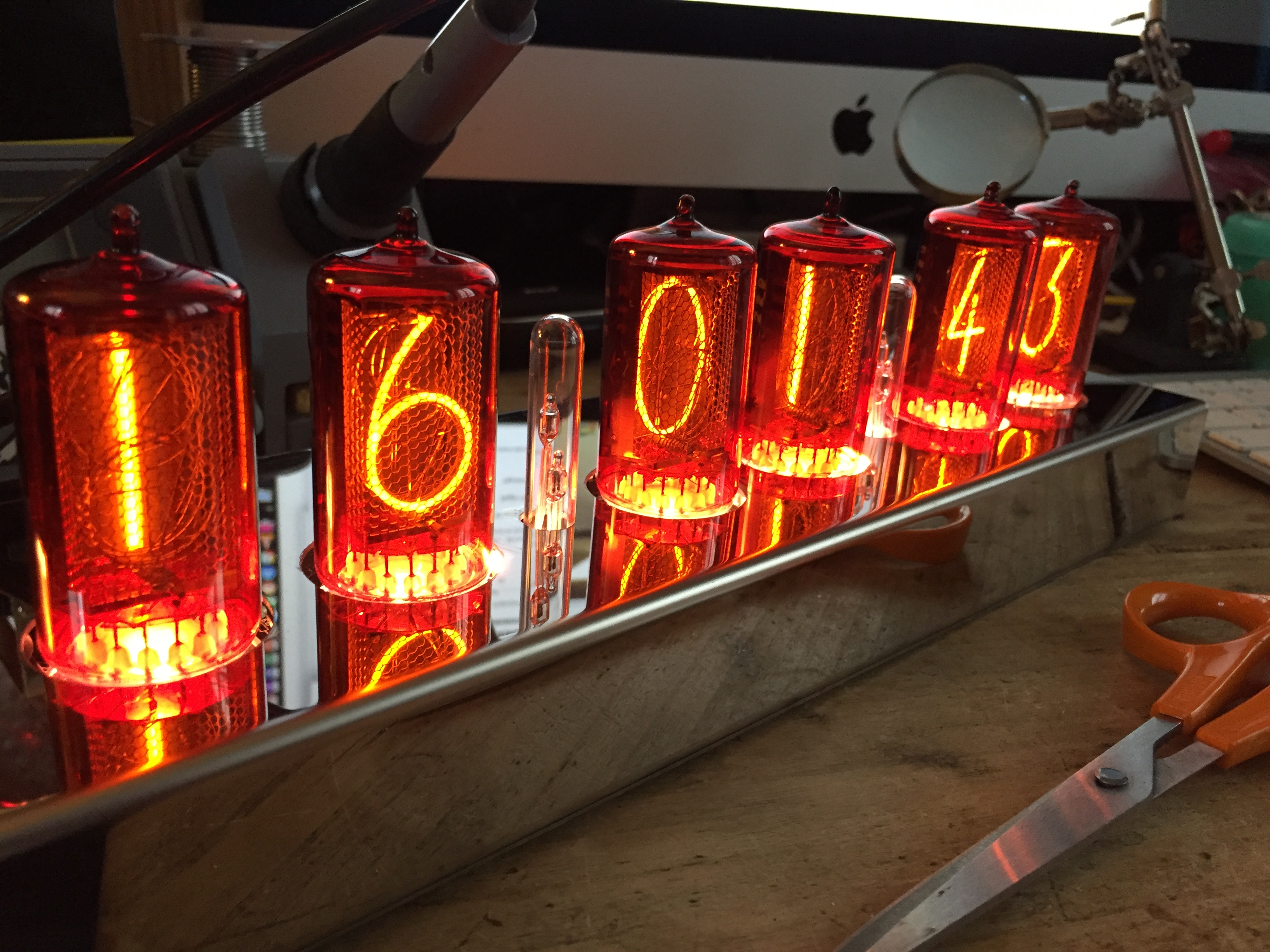 Big orange nixie tube clock ZM1042 in steel case fully programmable RVB leds